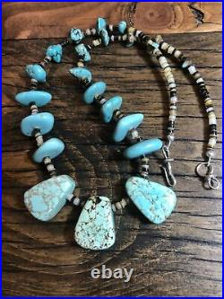 #1066 Turquoise Chunky 19 Necklace, Heishi, Navajo Sterling Silver Hook And Eye