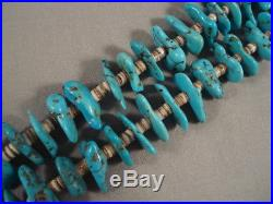 109 Grams Vintage Navajo Turquoise Nugget Heishi Necklace Old
