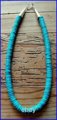 10 -10.5 Mm. Lovely Blue Turquoise Sterling Heishi Necklace 20