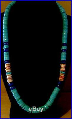10.5 Mm. Lovely Blue Turquoise Lapis Spiny Oyster Sterling Heishi Necklace