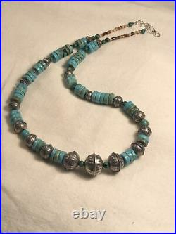 #1312 Turquoise, Heishi, Navajo 925 Sterling Silver Bench Beads, 19 Necklace