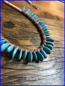 #1433 Orange Spiny Oyster Turquoise Tabs Heishi 23 Necklace Sterling Silver 925