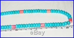 14k Gold Natural Coral Turquoise Gemstone Beaded Heishi Style Necklace 49g