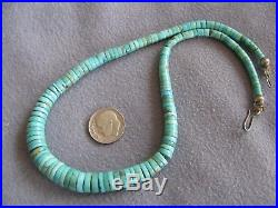 15 Vintage Natural South West Turquoise Heishi Bead Necklace S/S Clasp
