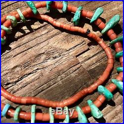 1800s Pueblo Turquoise Tab Coral Heishi 24 Long Fred Harvey Necklace Old Pawn