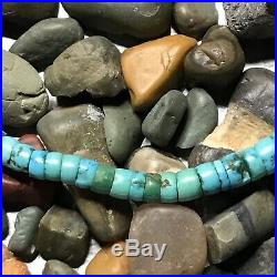 1800s WoW Blue Green Heishi Turquoise Navajo or Pueblo Necklace Old Pawn Native