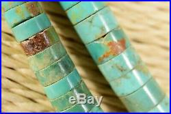18+ Vtg Old Pawn Native American NECKLACE Dbl Strand Heishi Turquoise Onyx