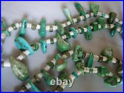1920's Santo Domingo Turquoise Tab & Heishi Bead Necklace Squaw Wrap