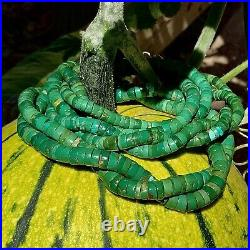 1920s 22 LONG Double Strand Green Heishi Turquoise Pueblo Necklace Pawn Native
