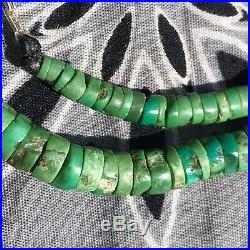 1920s Green Heishi & Tab Turquoise Navajo or Pueblo Necklace Old Pawn Native