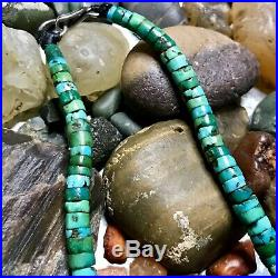 1920s Speckled Green Heishi Turquoise Navajo or Pueblo Necklace Old Pawn Native