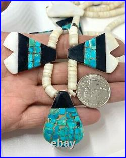 1930 Santo Domingo Sterling Turquoise Shell Heishi Bead Depression Tab Necklace