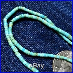 1930s Tiny Turquoise Heishi Silver Squash Blossom Necklace Navajo or Pueblo Pawn