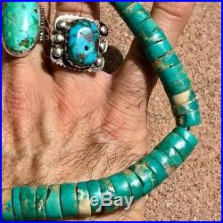 1930s or 1940s Heishi Blue Gem Royston Mens Turquoise Navajo or Pueblo Necklace