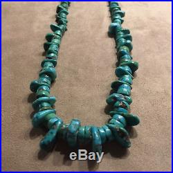 1940-50's Rare Natural Blue Gem Turquoise Heishi Pawn Tab Necklace