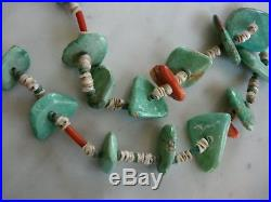 1940's Santo Domingo Carico Lake Turquoise Spiny Oyster Coral Heishi Necklace