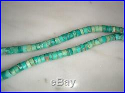 1940's Santo Domingo Natural Unstabilized Turquoise Heishi Jacla Necklace 23 IN