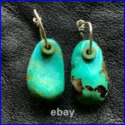 1940s Blue Turquoise Tab Earrings Ear Bobs Green Heishi Hand Wrought Silver Old