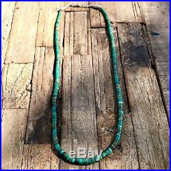 1940s Slim 22 Long Heishi Royston Green Turquoise Fred Harvey Necklace Old Pawn