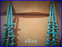 1950's Santo Domingo 3 Strand Turquoise Tab Heishi Necklace 30 inches 125 Grams