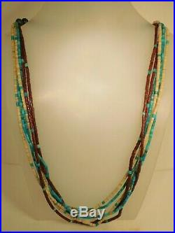 1970's ZUNI TINY HEISHI NECKLACE, TURQUOISE, PIPESTONE, SHELL, STERLING SILVER