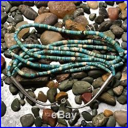1970s Old Pawn Vintage Shell & Turquoise Green & Blue Heishi 3 Strand Necklace