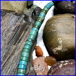 1970s Old Pawn Vintage Turquoise Blue & Green Heishi Choker Necklace