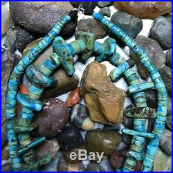 1970s Old Pawn Vintage Turquoise Blue & Green Tab Nuggets Heishi Choker Necklace