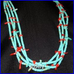 1 of a Kind HANDMADE 4-strand 20 Santo Domingo Turquoise Coral Heishi NECKLACE