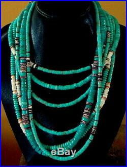 26-1/4 Long Turquoise Heishi Sterling Navajo Pearls 8mm. Rope Necklace