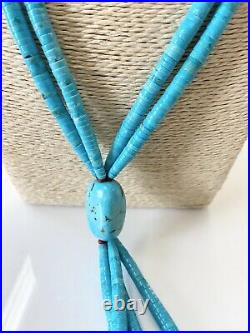 2 Strand 925 Silver Heishi Sleeping Beauty Turquoise Necklace 25