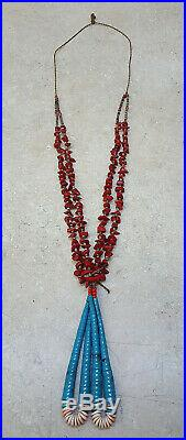2 Strand Turquoise Red Coral Heishi Beaded Native American Indian Jacla Necklace