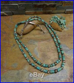 2x Navajo Sterling Red Mountain Heishi Turquoise Bench Bead Necklace Old Pawn