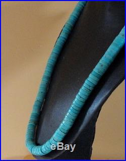 30-1/2 Extra Long Dead Pawn Lovely 10mm. Blue Turquoise Heishi Rope Necklace