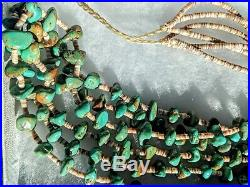 30 3 strand nugget TURQUOISE Heishi Shell NECKLACE Vintage