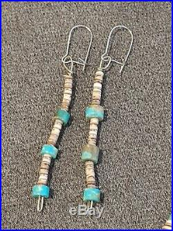 31 Native American 3 Strand Sterling Silver Turquoise Heishi Necklace Earrings