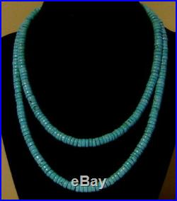 34-1/2 Extra Long Sterling Fabulous Blue Turquoise Heishi Rope Necklace