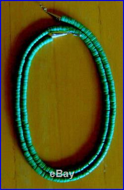 34 Extra Long Sterling VIVID Blue Green Turquoise 6.5 MM Heishi Rope Necklace