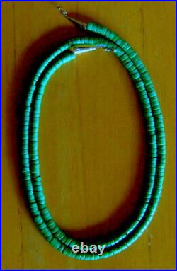 35 Extra Long Sterling VIVID Blue Green Turquoise 6.5 MM Heishi Rope Necklace