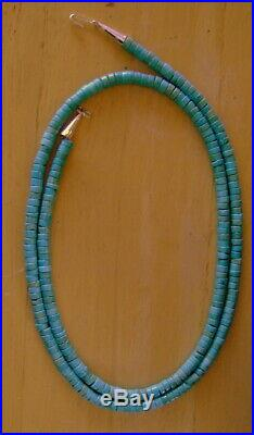 36 Extra Long Sterling True Blue Turquoise 6.5 MM Heishi Rope Necklace