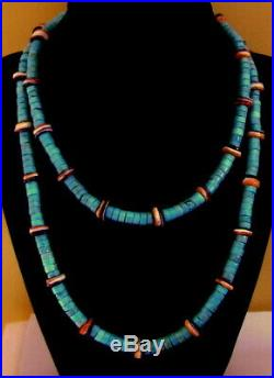36 Long Turquoise Heishi Orange Purple Spiny Oyster Sterling Necklace To 10 MM