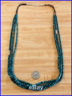 36 Native Am / Southwest 3 Strand Sterling Silver Turquoise Heishi Necklace 925