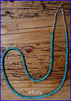 38 Long Gorgeous True Blue Turquoise Heishi Silver Rope Necklace
