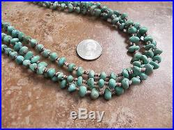 3 Strand Turquoise & Olive Shell Heishi Necklace 27 Navajo