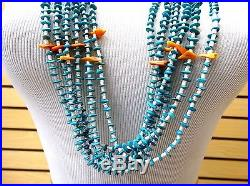 6 Strand Turquoise Spiney Oyster Wht. Heishi Bead Native American Indian Necklace