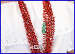 6-strand Coral Heishi Necklace with Turquoise Bear Fetishes 36