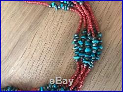 7 Strand Santo Domingo Red Coral Turquoise Heishi Necklace Navajo Beads Vintage
