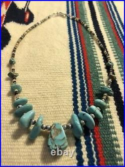 #995 Turquoise Pendant, 19 Nugget and Heishi Necklace, Sterling Silver Beads