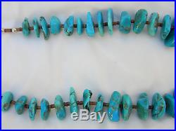 AUTHENTIC Sleeping Beauty Turquoise withSterling Beads & Heishi Necklace 22 $3700