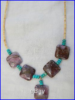 AUTHENTIC Sugilite, Turquoise & Heishi Bead Sterling Silver Necklace 18